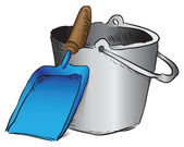 Shovel and bucket garbage — Vector de stock