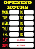 Opening Hours — Stock Vector