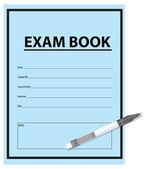 Caneta e livro de exame — Vetor de Stock