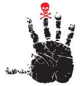 Handprint with red skull — Stock Vector