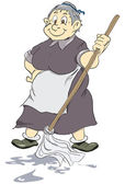 веселая старая уборщица — Cтоковый вектор