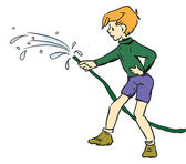Boy with hose — Stock Vector