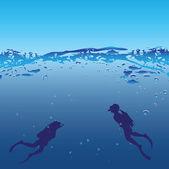 Underwater swimmers — Stock Vector