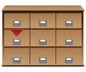 Drawer organizer with red cloth — Stockvektor