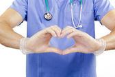 Finger doctor heart. — Stock Photo
