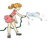 Girl with a hose — Stock Vector