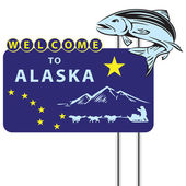 стоять на добро пожаловать на аляске — Cтоковый вектор