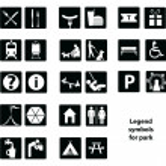 Legend symbols for park — Stock Vector