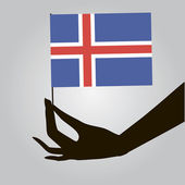 Hand with Iceland flag — Vector de stock