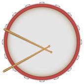 Drum with drumsticks — Stock Vector