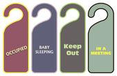 Set warning door knob — Stock Vector