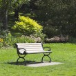 Stock Photo: Bench in city park. City of Toronto. Canada.