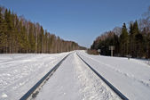 Snow-covered railway line — Stock Photo