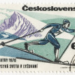 Skier on post stamp — Stock Photo