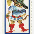 Puss in Boots on post stamp — Stock Photo