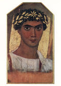 Drawing of young man in a gold wreath from Fayum (Egypt, II cent — Stock Photo