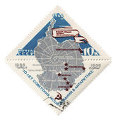 Antarctica map on post stamp — Stock Photo