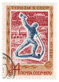 "Sculpture ""Swords into plowshares"" on post stamp — Stock Photo"