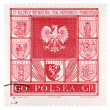 Arms of Polish cities on post stamp - Stock Photo