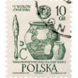 Shards of ancient archaeological sites in Warsaw on post stamp - Stock Photo