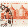 Stock Photo: Barbicin Warsaw on post stamp