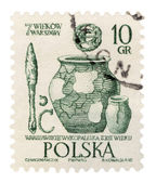 Shards of ancient archaeological sites in Warsaw on post stamp — Stock Photo