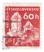Karlstein Castle on post stamp — Stock Photo