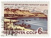 озеро иссык-куль в кыргызстане по почтовому штемпелю — Стоковое фото