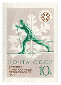 Running skier on post stamp — Stock Photo