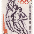 Stock Photo: Basketball players on post stamp