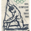 Canoe rower on post stamp — 图库照片