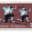 Biathlon on post stamp — Stok fotoğraf
