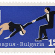 Pairs figure skating on post stamp — Stock Photo