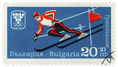 Mountain-skier on post stamp — Stock Photo