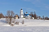 Old russian church in winter time — Stock Photo