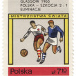 Stock Photo: Two football players on post stamp