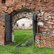 Old wooden gate in ancient russian monastery — Stockfoto #33087055