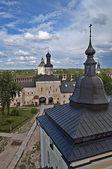 Inner courtyard of Kirillo-Belozersky monastery. Top view — Stock Photo