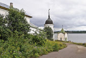 Old orthodox convent on the riverbank — Stock Photo