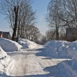 Snowdrifts in russian village — Stock Photo