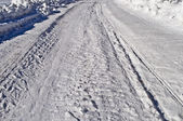 Snowy road background — Stock Photo