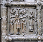 Bas-relief with Jesus Christ on ancient bronze gate in Veliky No — Stock Photo