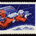 Postage stamp with soviet Cosmonaut Aleksei Leonov in space — Stock Photo #5412266