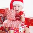 Baby gifts on Christmas night — Stock Photo