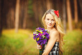 Lovely happy female closeup portrait, enjoying nature, summertime leisure concept — Stock Photo