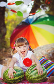 Cute little girl playing in summer park. Outdoor — Stock Photo
