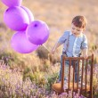 Little fashionable boy having fun in lavender summer field. — Stock Photo