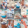 Composition of boats and nautical equipment. Sea theme decor — Stock Photo
