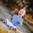 Little toddler boy walking in summer park outdoor — Stock Photo