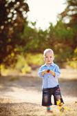 Portrait of a little boy walking in summer park — Stock Photo